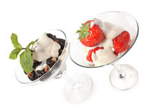 Ice cream with strawberries Stock Images