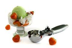 Ice cream strawberries. Ice cream, strawberries. pistachio ice-cream Royalty Free Stock Image