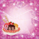 Ice Cream, Strawberries and Abstract Background Stock Photo