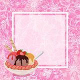Ice Cream, Strawberries and Background Stock Images