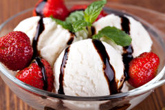 Ice cream with strawberries Stock Photo