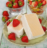 Ice cream with strawberries Royalty Free Stock Photo