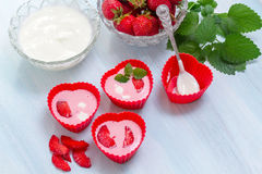 Ice cream from strawberries and yogurt Stock Image