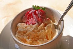 Ice Cream with Strawberry. Bowl of ice cream with a spoon and a strawberry with nice shadows royalty free stock images