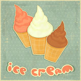 Ice cream strawberry, chocolate and vanilla Stock Image
