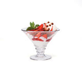 Ice cream with strawberry, mint and crisps royalty free stock image