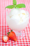 Ice cream,strawberry with mint in a glass bowl Stock Photos