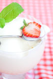 Ice cream,strawberry with mint in a glass bowl Royalty Free Stock Photos