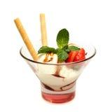 Ice cream and strawberry Stock Image