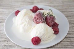 Ice cream with strawberry Stock Photo