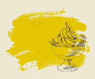 Ice cream with strawberry on yellow grunge background. Royalty Free Stock Image