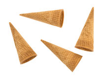 Ice cream sugar cones on a white background Stock Photography