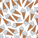 Ice cream in sugar waffle cones seamless pattern Stock Photo
