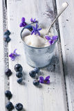 Ice cream with sugared violets Stock Photography