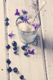 Ice cream with sugared violets Stock Images