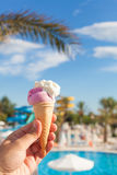 Ice cream and summer background Stock Photo