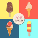 Ice cream, summery retro label, flat design Royalty Free Stock Photos