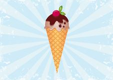 Ice Cream on Sunburst Background 1. Funky Retro Ice Cream. All elements are on separate layers and can be easily edited Royalty Free Stock Image