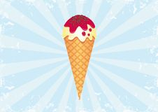 Ice Cream on Sunburst Background 2. Funky Retro Ice Cream. All elements are on separate layers and can be easily edited Royalty Free Stock Images