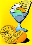 Ice cream sundae. And fresh oranges Royalty Free Stock Image