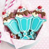 Ice cream sundae cookies. Cookies with a retro ice cream sundae theme royalty free stock image
