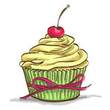 Ice cream sundae cupcake. With cherry, excellent vector illustration, EPS 10 Royalty Free Stock Images