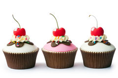 Ice cream sundae cupcakes Royalty Free Stock Images