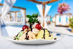 Ice cream sundae. Ice cream chocolate hot fudge sundae dessert cherry soda fountain stock photo