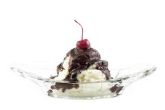 Ice Cream Sundae Isolated on White Stock Photos