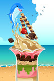 Ice Cream Sundae Summer Poster Royalty Free Stock Photography