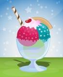 Ice cream sundae. Sweet ice cream sundae with stars Royalty Free Stock Images