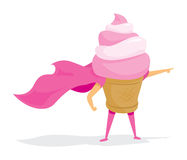 Ice cream super hero with cape Royalty Free Stock Images