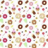 Ice cream sweet dessert donut cookie pattern vector flat Stock Photos