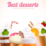 Ice-cream sweet desserts vector background Royalty Free Stock Photos
