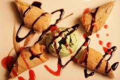 Ice cream and sweet rolls Stock Photo