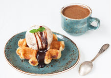 Ice cream and sweet waffle with a cup of coffee Stock Photos