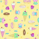 Ice Cream and Sweets Seamless Pattern. Ice Cream and Sweets Seamless Repeat Pattern Vector Illustration Royalty Free Stock Images