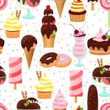 Ice cream and sweets seamless pattern Stock Photos