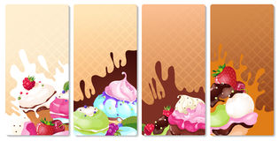 Ice cream tags. Ice cream with berries on a waffle background Royalty Free Stock Photo