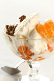 Ice cream with tangerine and nuts. Ice cream with tangerine and berry and nuts Royalty Free Stock Image