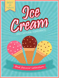 Ice Cream Template, Banner, Flyer or Menu Card. Royalty Free Stock Photos