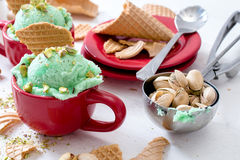 Ice cream time. Selective focus on the pistachios ice cream in the cup Stock Photos