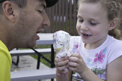Ice Cream Time - Sharing with Daddy Stock Photos