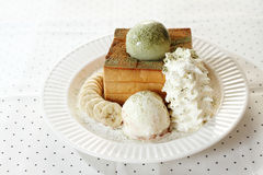Ice cream and toasted bread Stock Photo