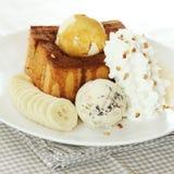 Ice cream and toasted bread with banana Stock Photos