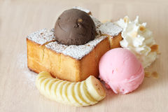 Ice cream and toasted bread with banana Royalty Free Stock Photo