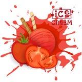 Ice Cream Tomato Ball Dessert Choose Your Taste Cafe Poster Stock Images
