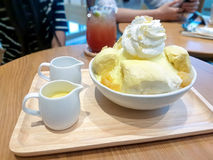 Ice cream topped with durian. Royalty Free Stock Photo