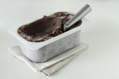 Ice cream in a tray container on white background Royalty Free Stock Photos