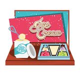 Ice cream tray with ladle. Vector illustration design vector illustration